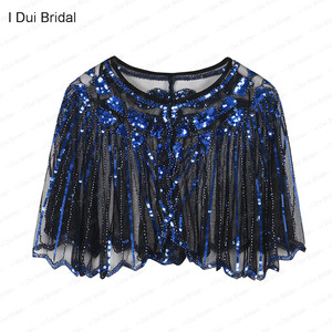 Image 4 - Womens 1920s Shawl Beaded Sequin Deco Wedding Cape Evening Wrap Flapper Cover Up Cocktail Dress Scarf Special Event Cape