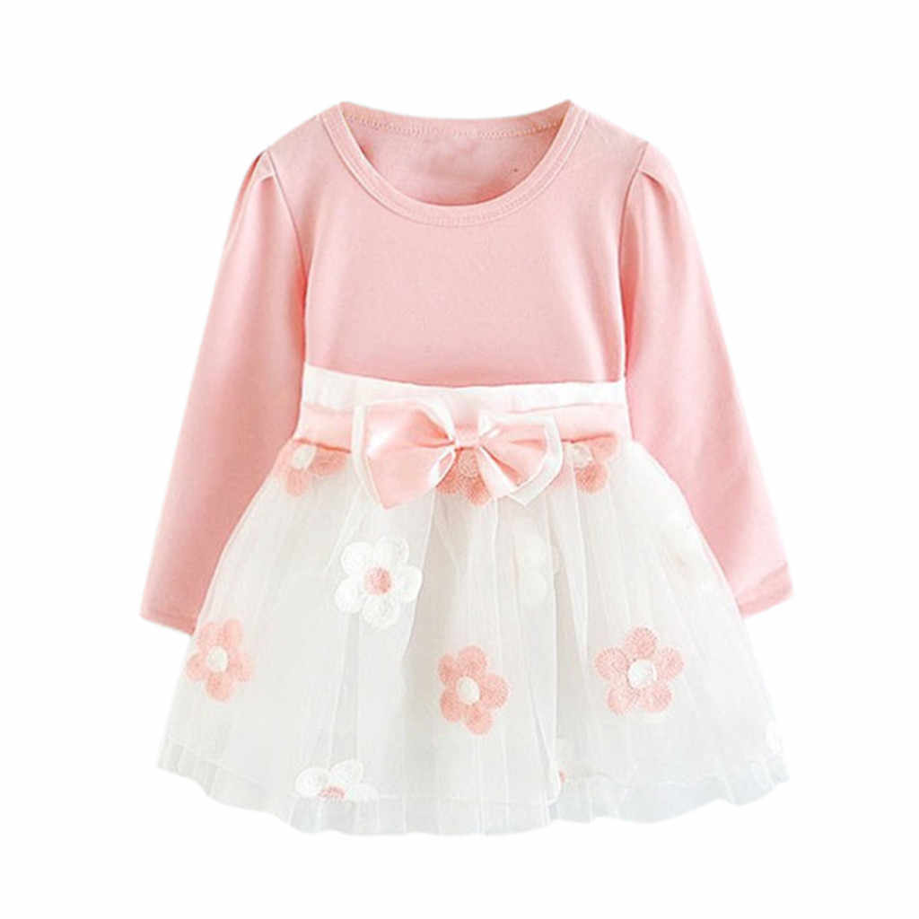 Baby Girls Mesh Patchwork Cartoon Flower Tulle Tutu Belt Bow Design Floral Printed Lovely Short Dress Robe Fille Vestidos