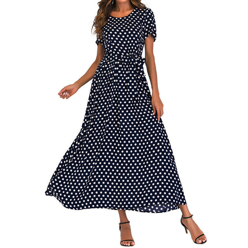 HTB19eW3aqSs3KVjSZPiq6AsiVXaf - Summer Dress Women O-Neck Short Sleeve Boho Polka Dot Bandage Maxi Long Dress Women Beach Sundress Plus Size Vestidos