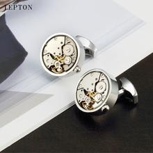 Lepton Watch Movement Cufflinks Round Business Stainless Steel Steampunk Gear Mechanism for Mens Relojes gemelos