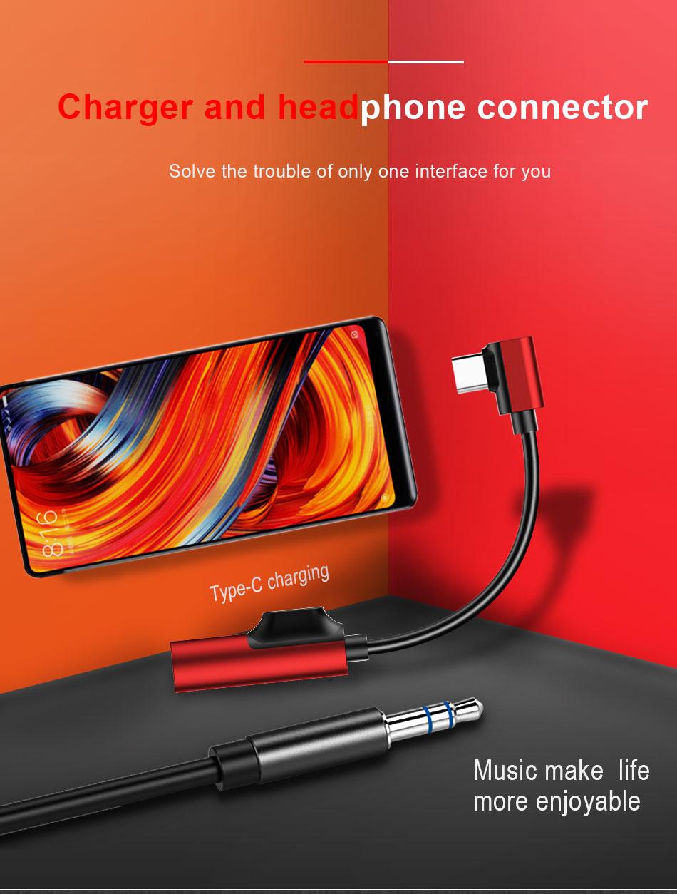 !ACCEZZ USB Type C Earphone Connector For Xiaomi Mi 6 5 Huawei Mate 10 Pro Fast Headphone Jack Splitter Charging Audio Adapter (1)