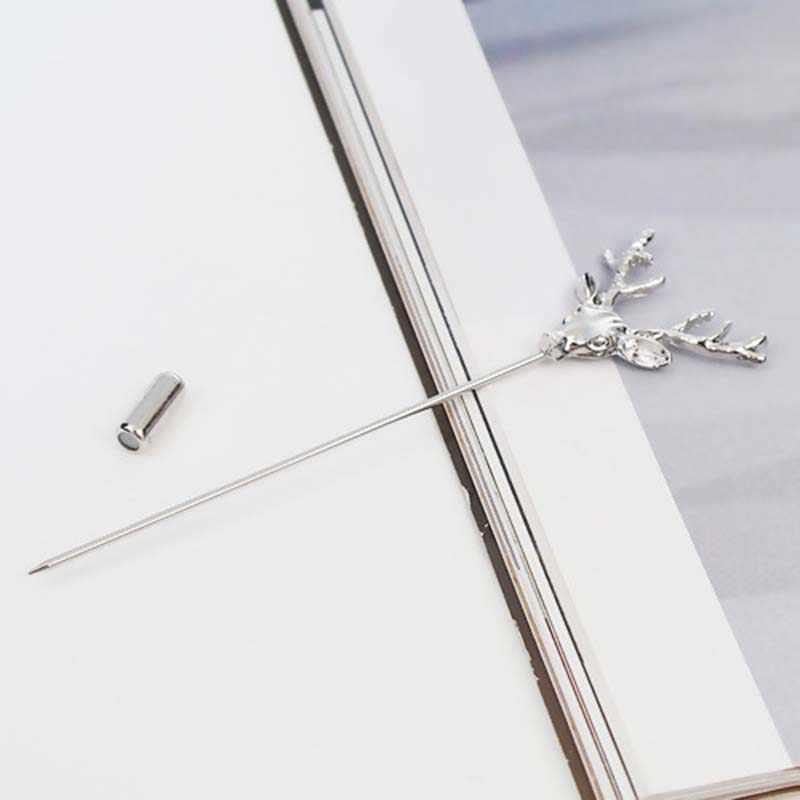 Z dziurką modne proste Retro głowa jelenia agrafki broszki dla kobiet mężczyzn garnitur akcesoria zwierząt kołnierz Pin Fine Jewelry