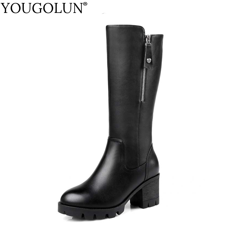YOUGOLUN Women Knee High Fur Boots 2017 Russia Winter Square Heel 6.5 cm High Heels Black Warm Round toe Zipper Shoes #Y-244 yougolun women knee high boots autumn winter genuine leather black thick heel 6 cm high heels rivets pointed toe shoes y 206