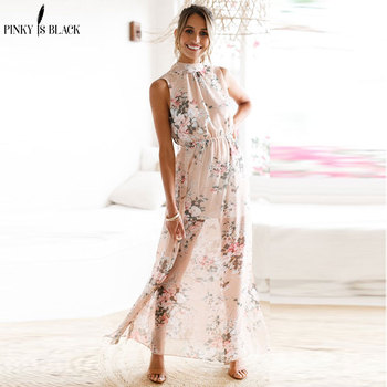 Pinky Is Black Boho style long dress women Halter beach summer dresses Floral print Backless chiffon split maxi dress vestidos women short sleeve long dress summer ethnic style digital print maxi dresses girls loose split beach sundress vestidos