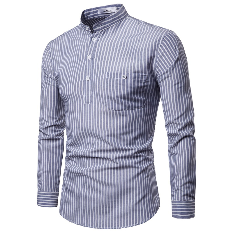 2018 Autumn And Winter New Men's Stand Collar Long Sleeve Pullover Striped Shirt