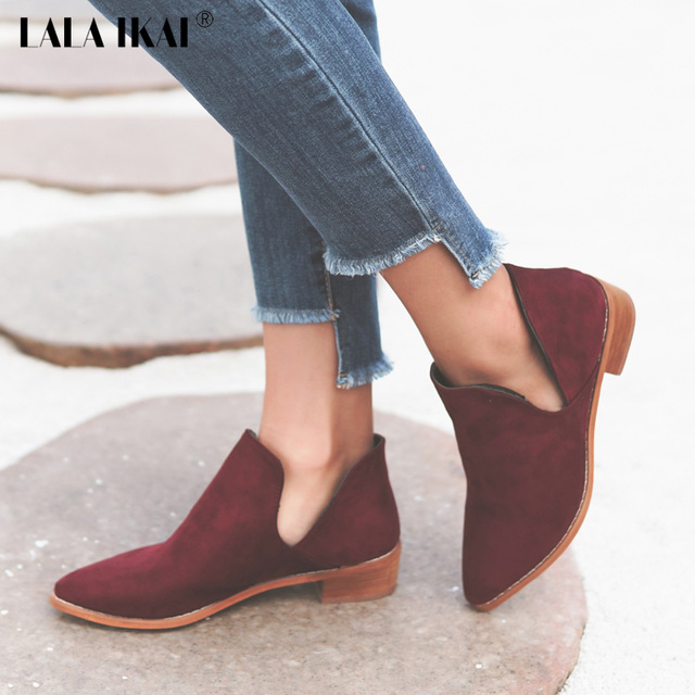 LALA IKAI V Shape Pointed Toe Ankle Boots Flock Slip-On Winter Boots Women s  Autumn Shoes Low Heels Chelsea Boots 040N1367-3.5 badcbe9a3512
