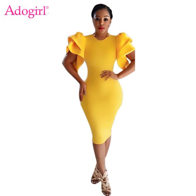 Adogirl Solid Yellow Cascading Puff Sleeve Bandage Dress High Quality Women  Sexy Midi Evening Party Gown Bodycon Dresses Vestido. 1 order 3848a2d7c4a5