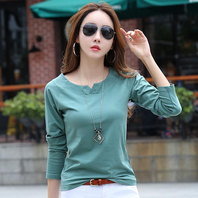 ecf424dd7a Otoño Invierno T camisa mujeres Camiseta de manga larga camisetas de algodón  para las mujeres de