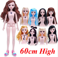 60cm BJD Nude Naked Doll + Shoes / 3D Eyes Real Eyelash with 18 Joint moveable White Skin For Cosplay DIY 1/3 Doll Baby toys