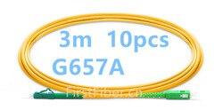 FirstFiber 3m 10pcs LC APC to SC APC G657A Fiber Patch Cable, Jumper, Patch Cord Simplex 2.0mm PVC OS2 SM Bend Insensitive