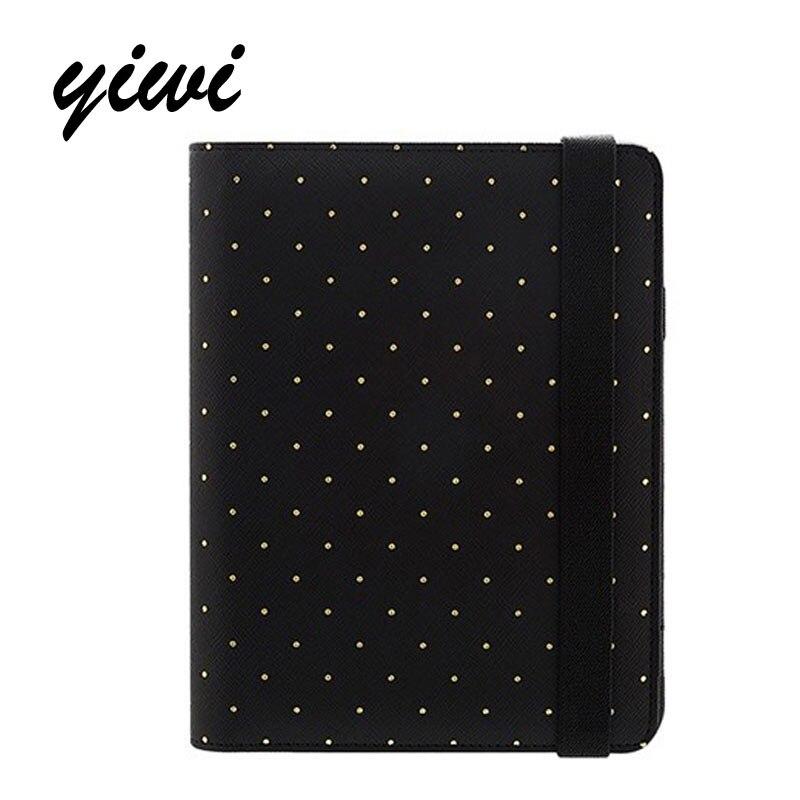 2017 Original Yiwi A5 A6 A7 Polka Dot Black Elastic Organizer Planner Diary Kawaii Notebook Diy Stationery 0ffice School стоимость