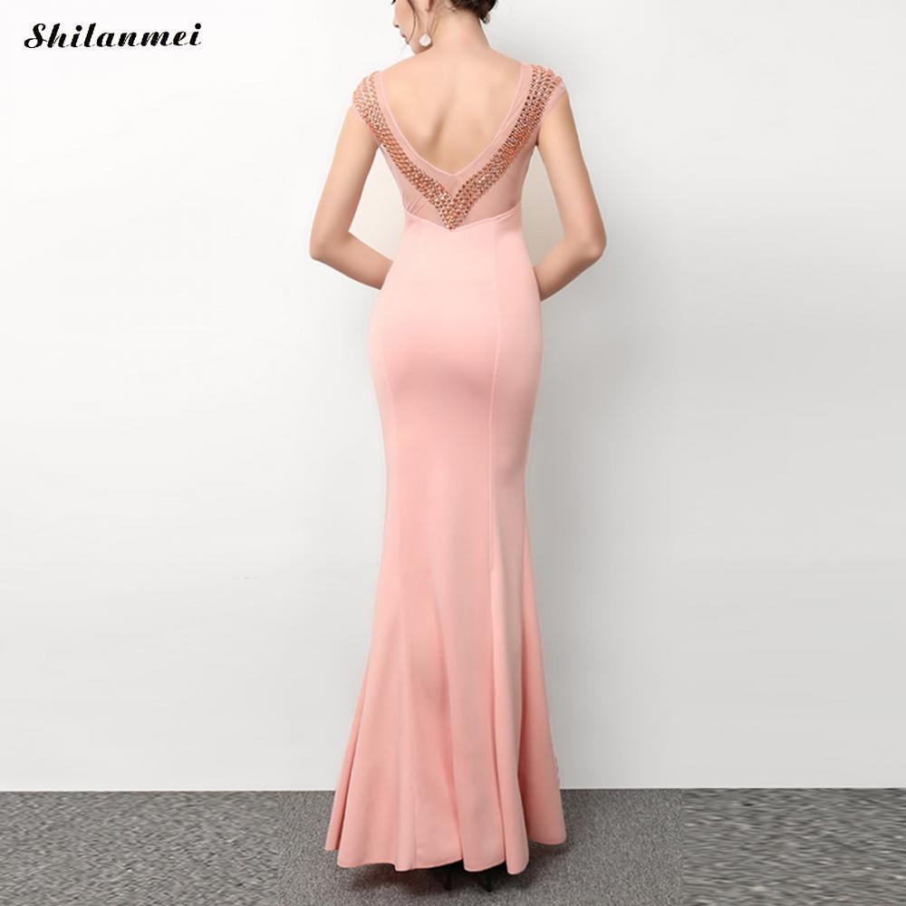 2018 Robe De Soiree Mermaid Royal Blue Backless Evening Party Dress Long Maxi Vestido De Festa Off The Shoulder Pink Gown Ladies