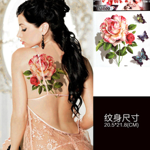 Super Large Chinese Floral Back Body Art Waterproof Temporary Tattoos for Women Individuality Design Tattoo Sticker Looks Real