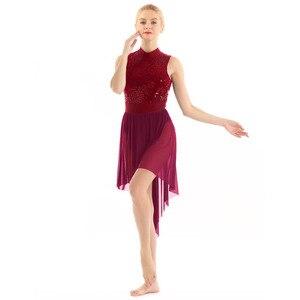 Image 3 - Women Halter Sleeveless Shiny Sequined High Low Mesh Gymnastics Leotard Skating Ballet Dance Dress Adult Lyrical Dance Costumes