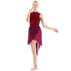 Image 3 - 여자 고삐 민소매 반짝 이는 sequined 높은 낮은 메쉬 체조 레오타드 스케이트 발레 댄스 복장 성인 서정적 인 댄스 의상