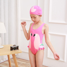 2019 new 1-7 year old swimsuit swan flamingo parrot print girls one-piece delivery cap