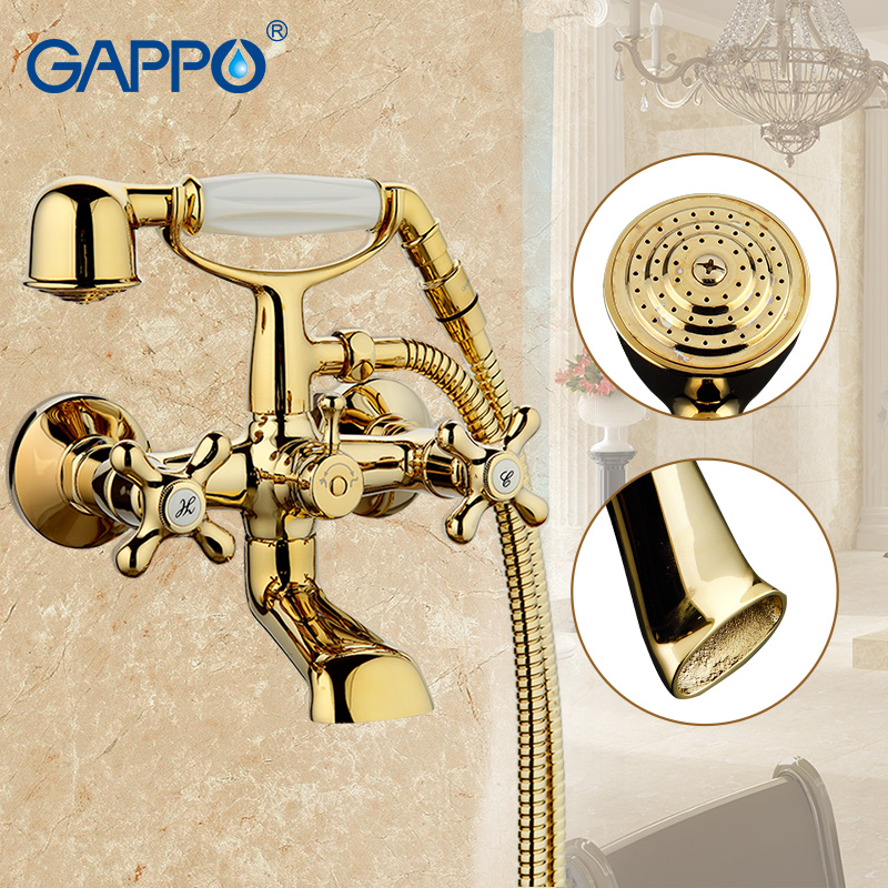 GAPPO 1set Bathtub Faucet water mixer shower set wall waterfall bathroom sink faucet tap restroom faucet in hand shower G3263-6 bathroom handheld shower head faucet mixer tap copper bathtub faucet shower chrome wall mounted waterfall shower faucet set