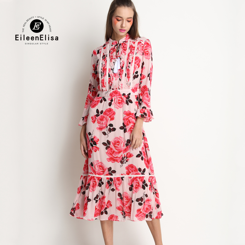 Brand Dresses Woman Luxury 2017 Floral Print Runway Ruffle Dress