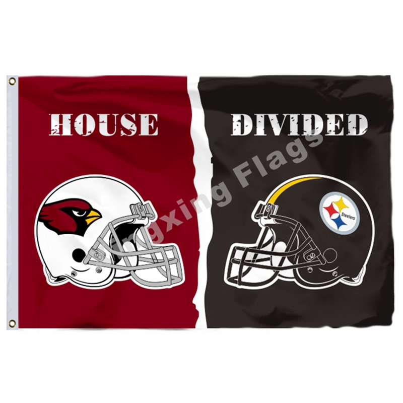 Arizona Cardinals Pittsburgh Steelers Helmets House Divided Flag 3ft X 5ft Polyester NFL Banner Size No.4 144*96cm Custo