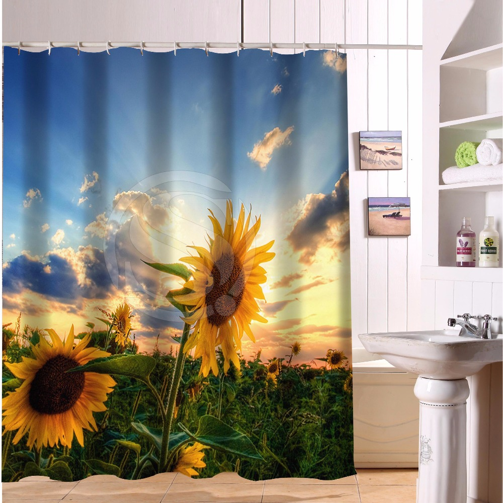 "Bathroom Polyester Fabric Bath Curtain Printed Colorful Flowers Sunflower Pictures Shower Curtain 66"" x 72"" Free Shipping"