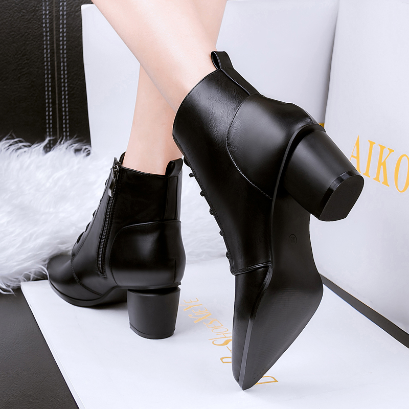 5b13d50fbd womens ankle boots black casuals party lace up pointed toe chunky heels  block comfortable shoes booties sexy online size new hot-in Knee-High Boots  from ...
