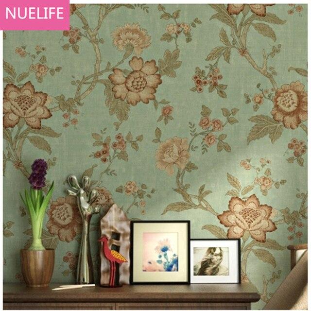 American Countryside Pastoral Style Non Woven Wallpaper Light Green Flower Pattern Living Room TV Bedroom