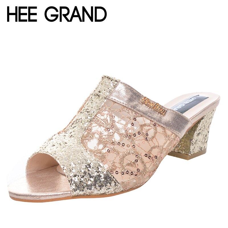 Hee Grand/2017 Шлёпанцы для женщин с сияющими блестками сетки из искусственной кожи женская летняя обувь Шлёпанцы для женщин квадратный каблук зр...