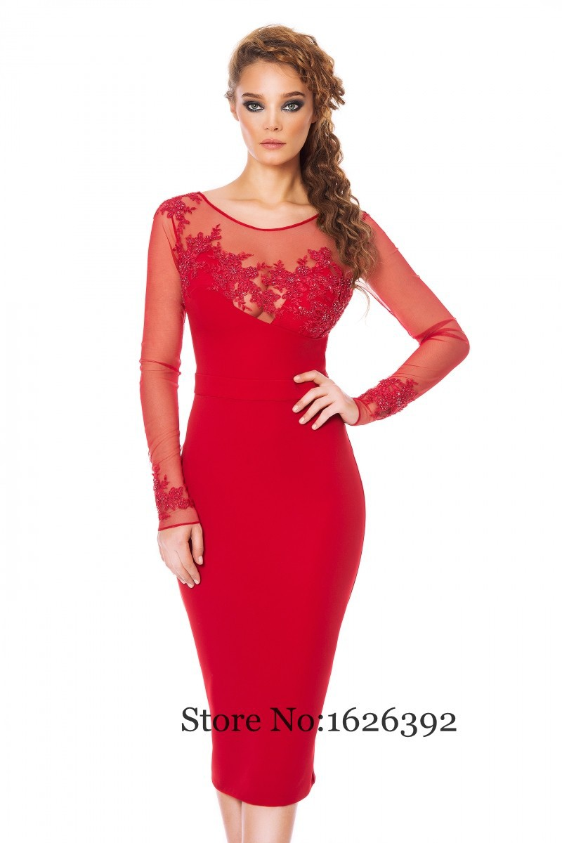 Popular Red Dress Long Sleeves Cocktail-Buy Cheap Red Dress Long ...