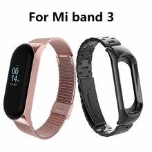 Mi band 3 Stainless Steel Wrist Strap For Xiaomi Mi Band 3 Metal Watch Smart Band Bracelet Mi Band 3 Replaceable Watch strap цена 2017