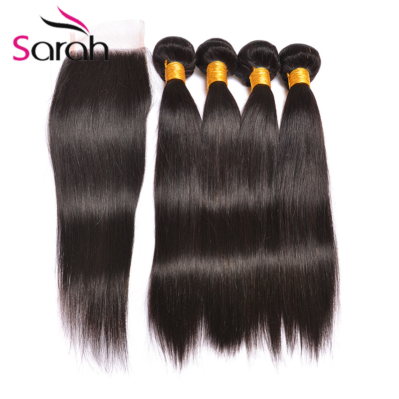 Mocha Hair With Closure Malaysian Straight Tissage Bresilienne Avec Closure 8A Grade Virgin Unprocessed Human Hair With Closure