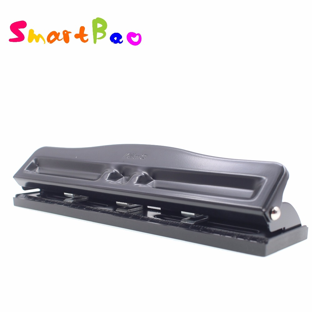 3-Hole Desktop Puncher Adjustable Hole Puncher, 10 Sheet Capacity, Metal,Black, Adjustable Centers Fine Tuning, Office Necessity