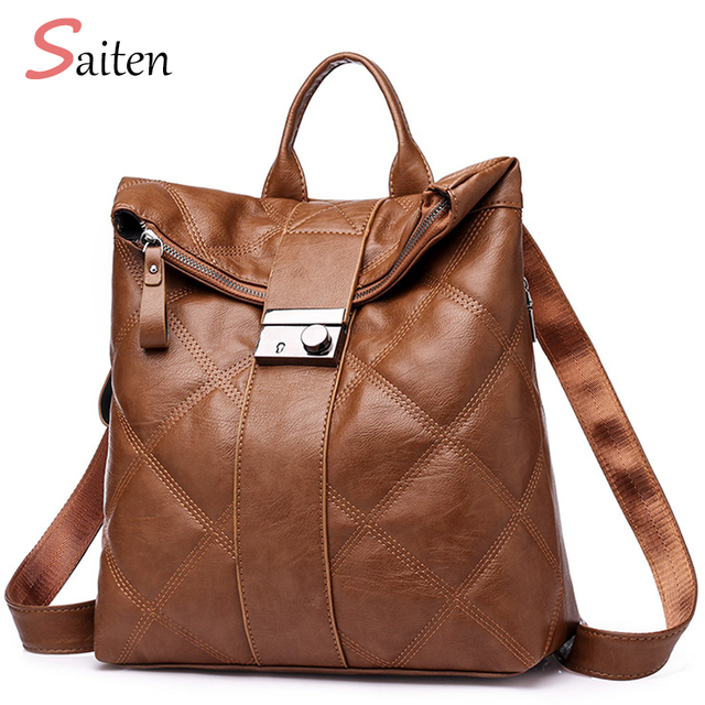 b6ab35ace5 Fashion Woman Backpack Leather Brands Casual Back Bag Female Backpacks High  Quality Backpack Elegant Mochilas Escolar Feminina