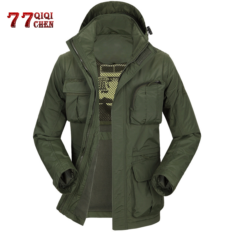Autumn And Winter Military Trench Coat Jacket Men's Casual Outdoor Hat And Sleeves Removable Fleece Lining Waterproof Streetwear