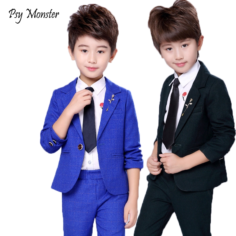 Wedding Suit For Flower Boys School Student Formal Performance Dress Gentleman Kids Blazer Pants 2Pcs ceremony Costumes F155