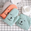 Cotton Fabric Lovely Cartoon Oven Mitts  Thermal Insulation Mat  Gloves  Oven Baking Thickening Gloves  Kitchen Baking Tools