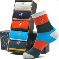 5 Pairs Men S Socks High In Tube Crew Authentic Cotton Deodorant Colorful Business Casual Socks