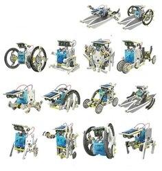 13 в 1 образовательный комплект солнечных роботов робот, работающий от солнечной энергии DIY Собранный игрушечный автомобиль Лодка животные б...
