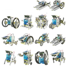 13 In 1 Educational Solar Robot Kit  Power  DIY Assembled Toy Car Boat Animal Blocks Kids Toys Gift