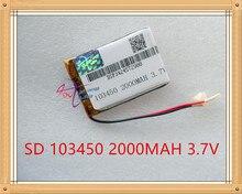 Bateria de Polímero Liter Energy Battery 3.7 V de Lítio Pequeno Pudim 103450 Baterias Recarregáveis 2000 Mah MA Navegador Gps