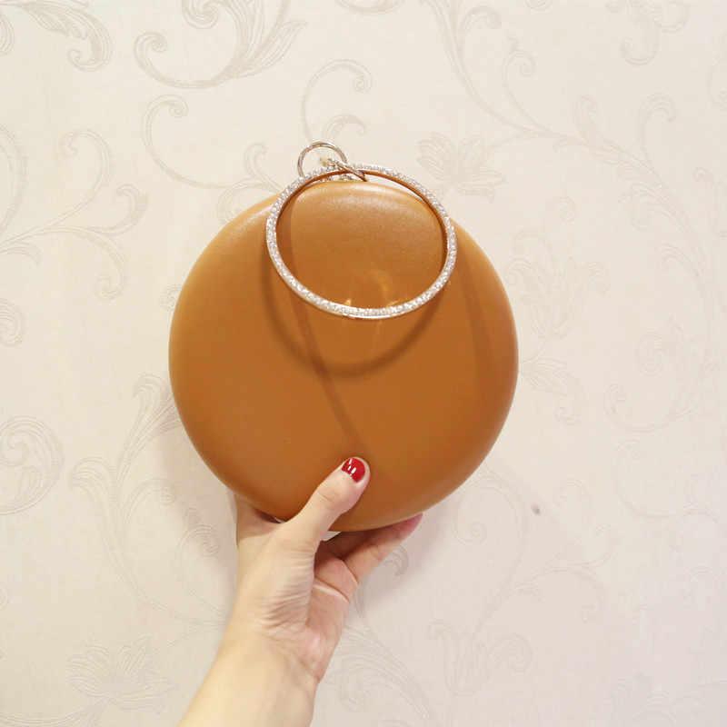 ETAILL бриллиантовое круглое кольцо женские вечерние сумки круглые клатчи сумки через плечо на цепочке белый коричневый черный