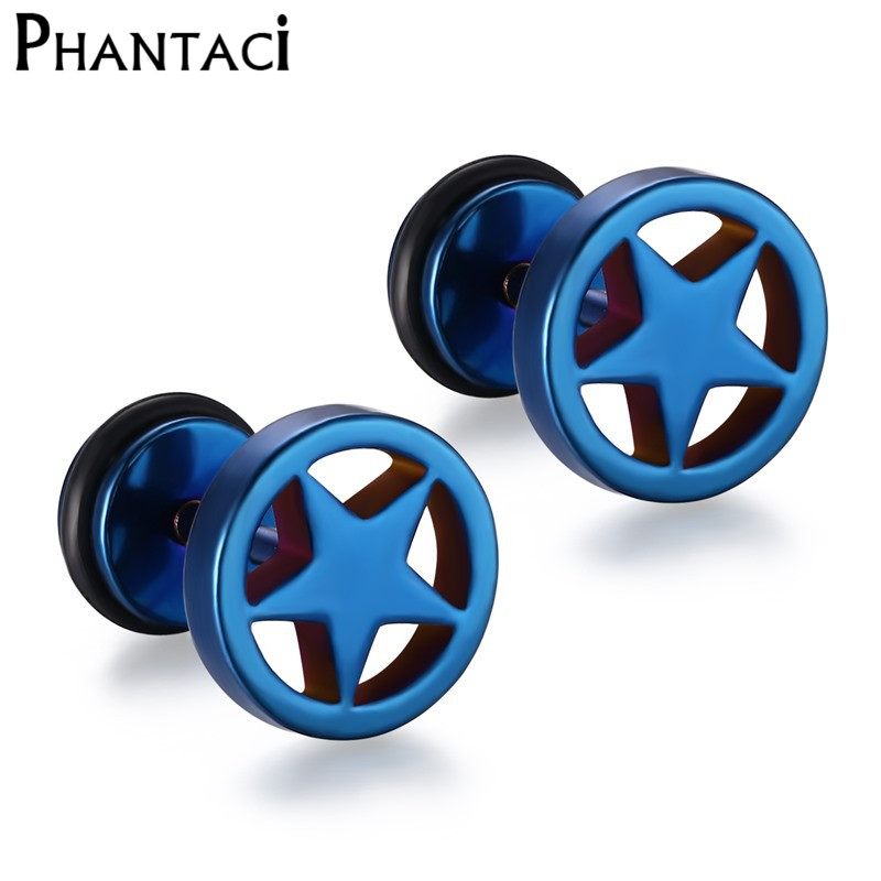316L Stainless Steel Double Sided Round Star Stud Earrings Men Women Geometric Gothic Blue Cool Rock Punk Earring Female Male