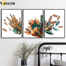 Colorful Feathers Posters And Prints Wall Art Canvas Painting Nordic Poster Print Pictures For Living Room Decor
