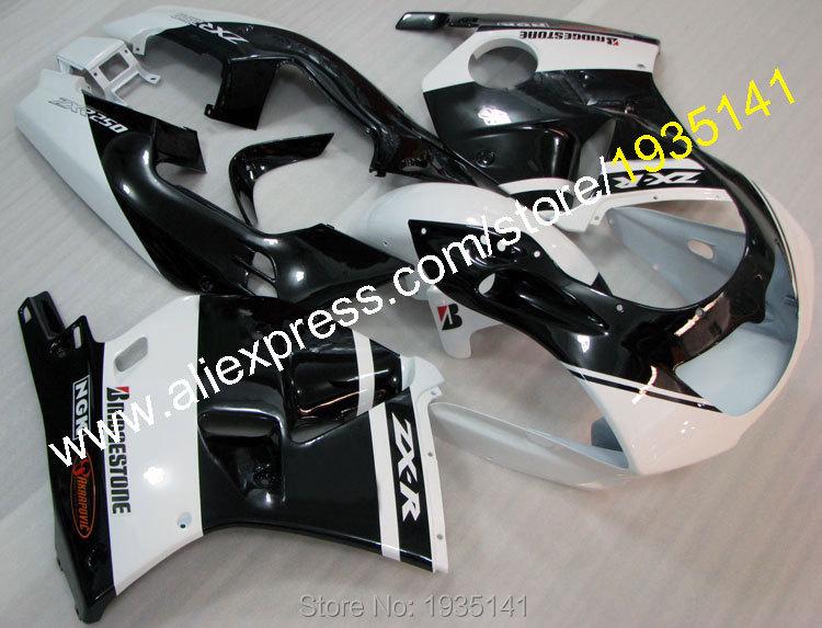 Hot Sales,For Kawasaki ZXR250R Body Kit 90-98 ZXR250 R Black White Bodywork Cowling 1990-1998 ZXR 250R Ninja Motorcycle Fairing