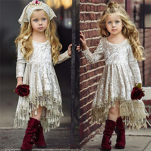 طفلة خمر الأميرة اللباس الاطفال المخملية الدانتيل شرابة خليط فساتين عارضة طفل طويلة الأكمام فساتين غير المتكافئة Vestidos 5