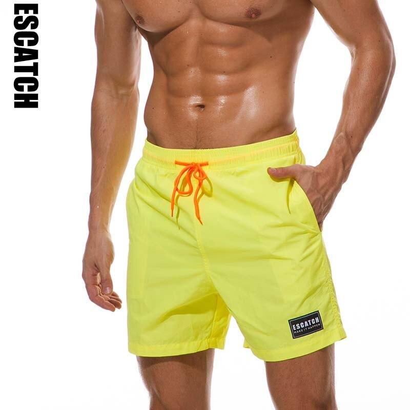 Escatch Quick Dry Swimwear Men's Swim Shorts Trunks Beach Boardshorts Man Gym Bermuda Swimsuit Mens Running Sports Surf Shorts цены онлайн