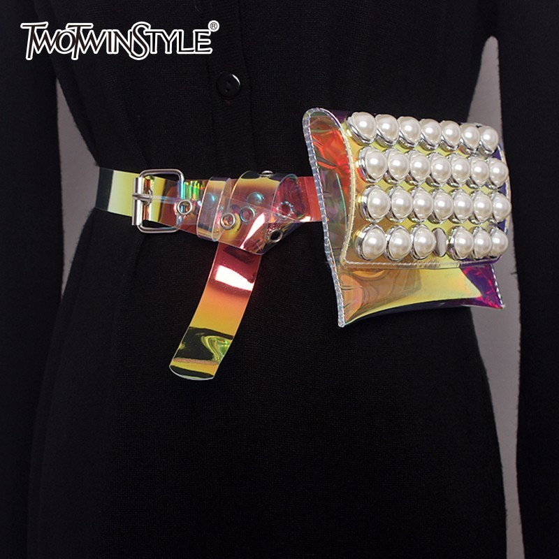 TWOTWINSTYLE Pearls Belt For Women PVC Transparent With Bag Removable Summer Cummerbunds 2020 Fashion Female Sweet Accessories