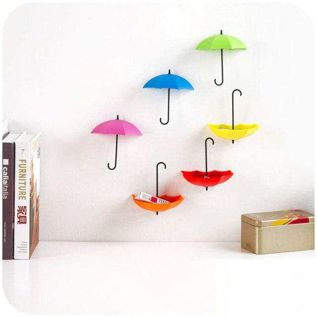 6pcs pretty umbrella wall hooks free nail glue wall mounted hooks creative home decor storage of