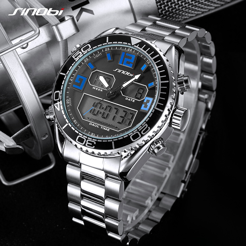 SINOBI New Top Luxury Brand Mens Sport Watch Quartz Led Clock Men Waterproof Wrist Watch Male Military Watches Relogio Masculino splendid brand new boys girls students time clock electronic digital lcd wrist sport watch