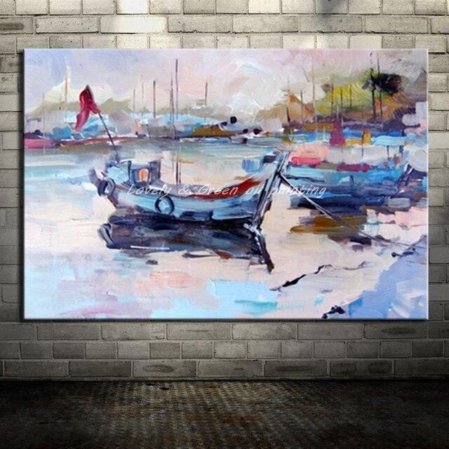 Peint  La Main Toile Peinture Abstraite Arts Affiche Bateau Paysage