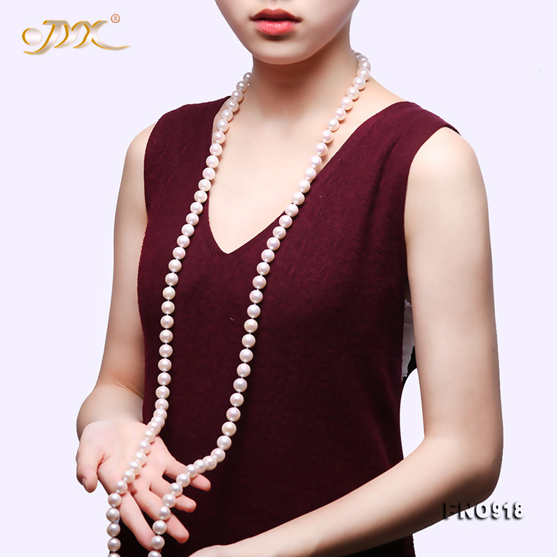JYX 2019 new Round Pearl Long Necklace AAA+ 9-10mm White natural Freshwater Cultured Pearl Women Sweater Necklace 50JYX 2019 new Round Pearl Long Necklace AAA+ 9-10mm White natural Freshwater Cultured Pearl Women Sweater Necklace 50